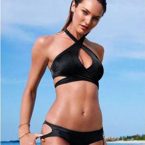 Victoria's Secret Crossover Wrap Halter Swim Top